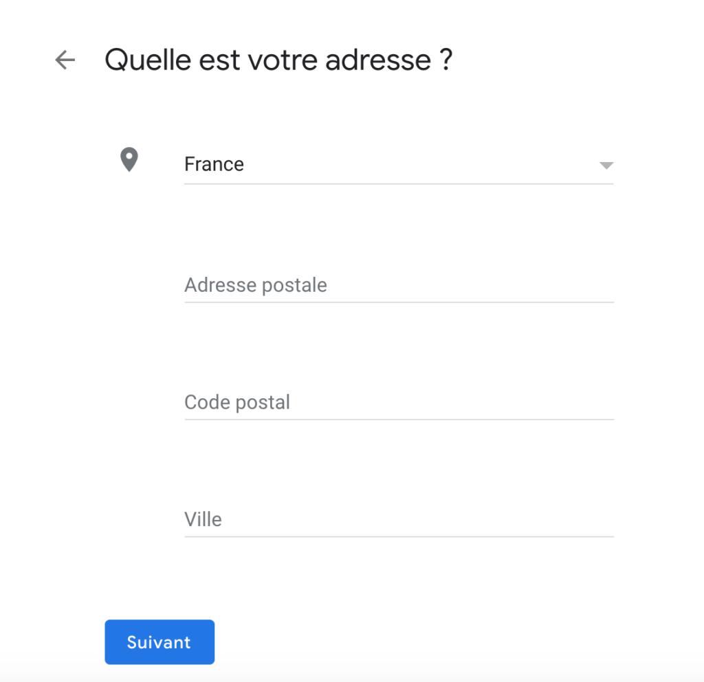 adresse fiche Google My Business